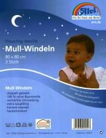 3x Mullwindel 80x80 cm weiß, Stoffwindel, Spucktuch