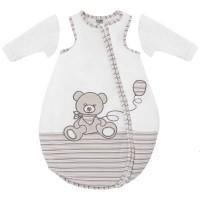 jacky baby schlafsack teddy off white ringel abnehmbare rmel wattiert kuschelfleece gr 50 86. Black Bedroom Furniture Sets. Home Design Ideas