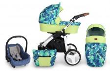 Kombi Kinderwagen Rotax Laub-Limone - Gestell weiss