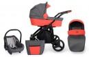 Kombi Kinderwagen Rotax Grau-Orange - Gestell schwarz