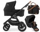 Emmaljunga NXT90 F Kinderwagen mit Wanne + Sportsitz Flat Outdoor Black + Wickeltasche Travel